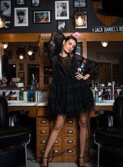 Rochie neagra cu aplicatii de dantela LUCY